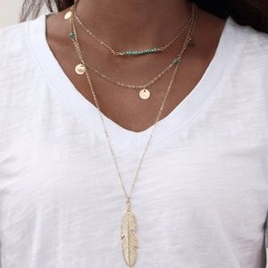 Jewelry - Gold Feather Multilayer Necklace NWT